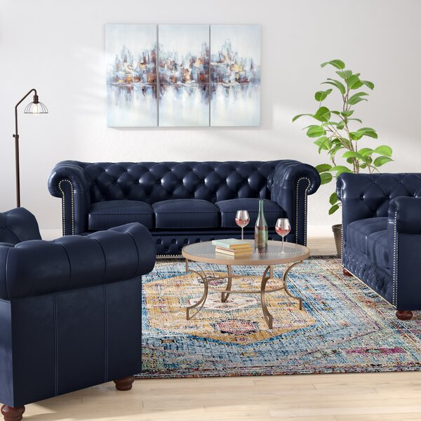 Our Offers Forsyth Leather 3 Piece Living Room Set by Trent Austin Design by Trent Austin Design