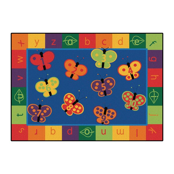 Camila 123 ABC Butterfly Fun Kids Area Rug by Zoomie Kids