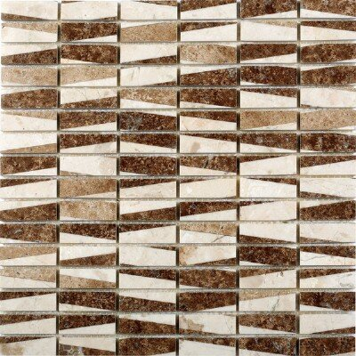 Bamboo 0.63 x 2 Marble Mosaic Tile in Cafe by Matrix Stone USA