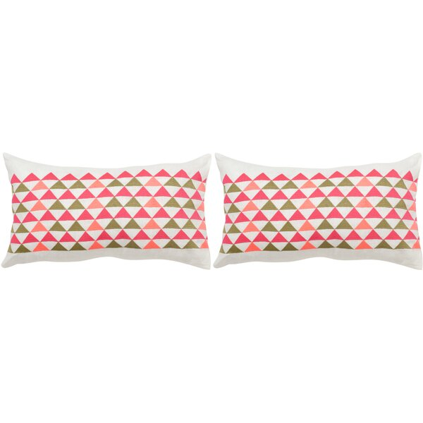 Geo Mountain Linen Lumbar Pillow (Set of 2) by Safavieh