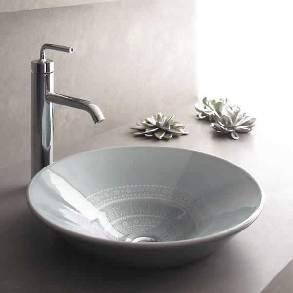 Caravan Ceramic Circular Vessel Bathroom Sink by Kohler