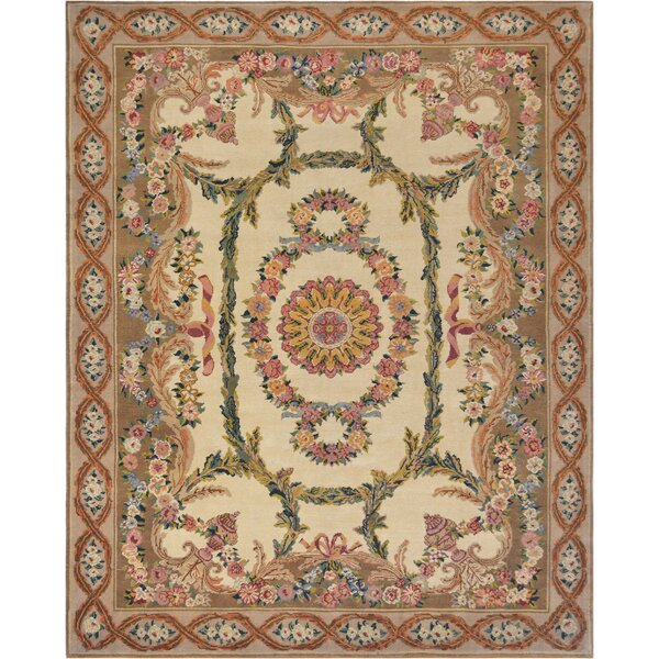 Savonnerie Exquisite European Hand-Knotted Wool Ivory Indoor Area Rug by Mansour