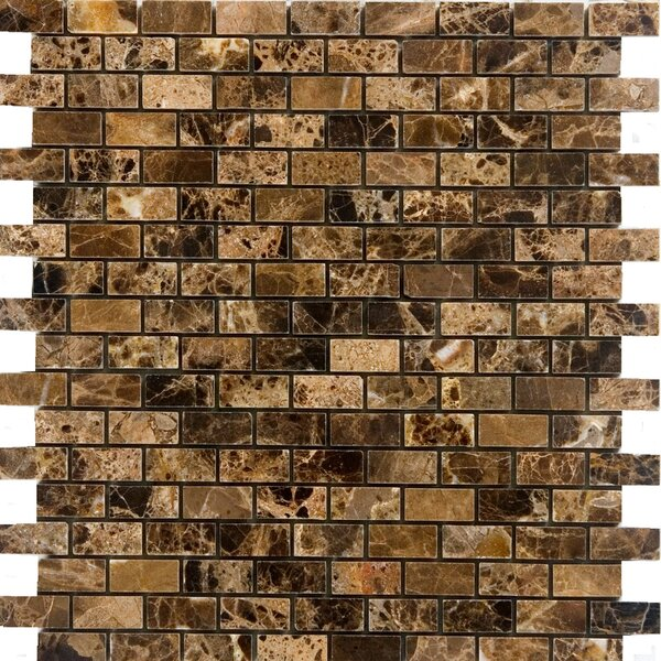 0.63 x 1.25 Marble Mosaic Tile in Emperador Dark by Epoch Architectural Surfaces