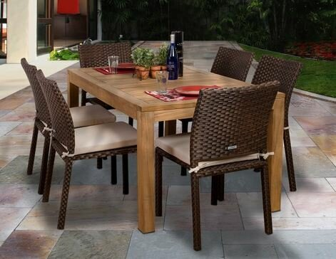 Arango 7 Piece Teak Dining Set with Cushions by Beachcrest Home