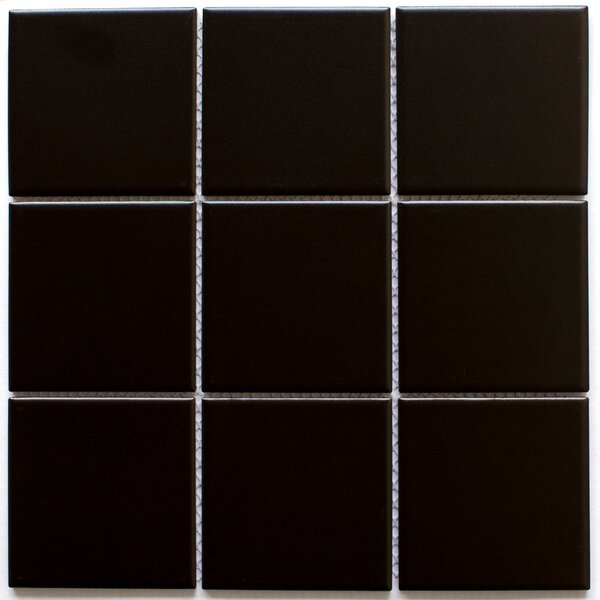 Absolute 4 x 4 Porcelain Tile in Black by Multile