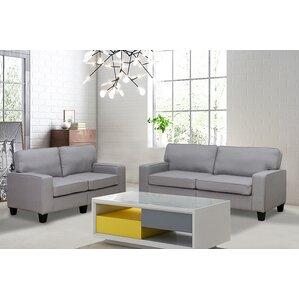 Bittle Modern 2 Piece Living Room Sofa And Loveseat Set