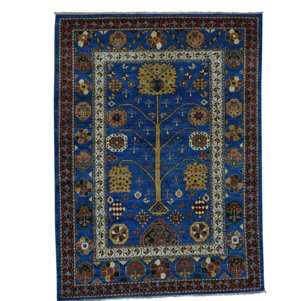 One-of-a-Kind Gowan Hand-Knotted Denim Blue Area Rug by Bloomsbury Market