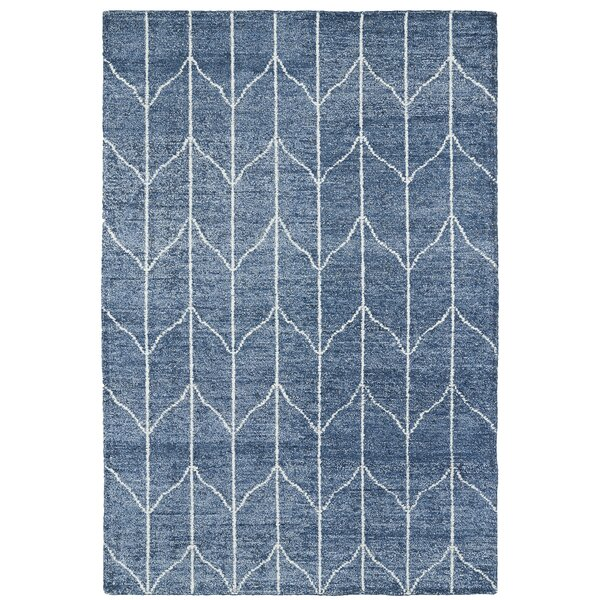 Hand Woven Denim Blue/Ivory Area Rug by Mercury Row