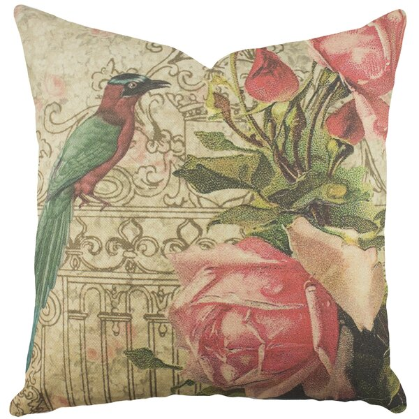 Bird with Roses Cotton Throw Pillow by TheWatsonShop