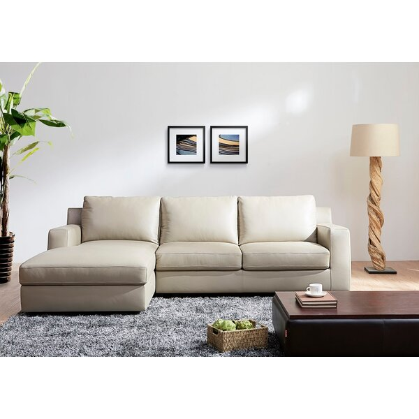 Arguello Leather Sleeper Sectional by Orren Ellis