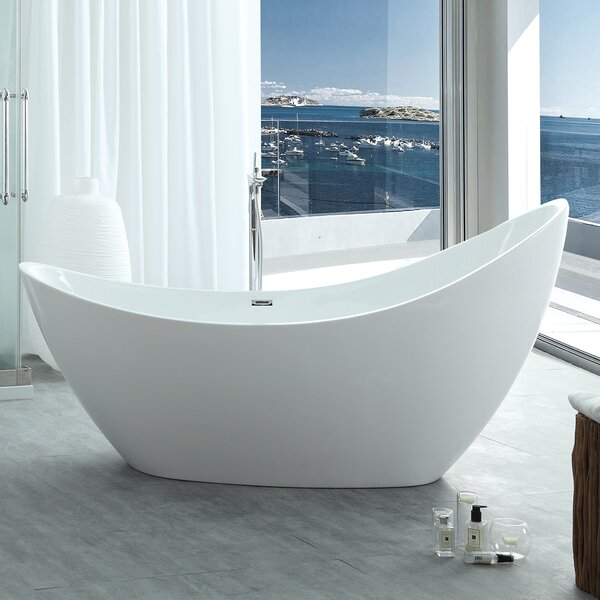 HelixBath Odysseus 72.8 x 30.7 Freestanding Soaking Bathtub by Kardiel