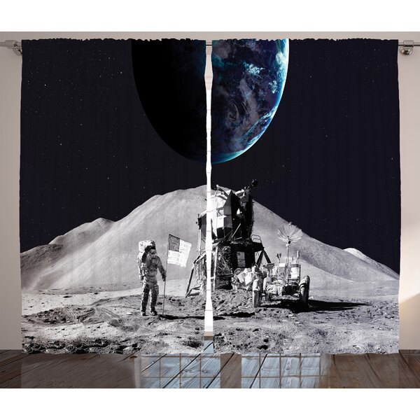 Spaceman Décor Graphic Print Room Darkening Rod Pocket Curtain Panels (Set of 2) by East Urban Home