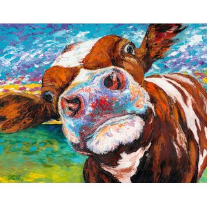 Curious Cow I Painting Print on Wrapped Canvas by Marmont Hill
