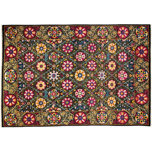 One-of-a-Kind Suzani Hand-Knotted Pink/Blue/Yellow Area Rug by Darya Rugs
