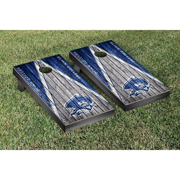 Blinn Buccaneers Weathered Triangle Version Cornhole Game Set by Victory Tailgate