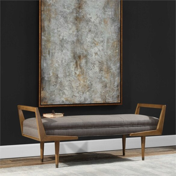 Alessandro Mid-Century Upholstered Bench by Corrigan Studio