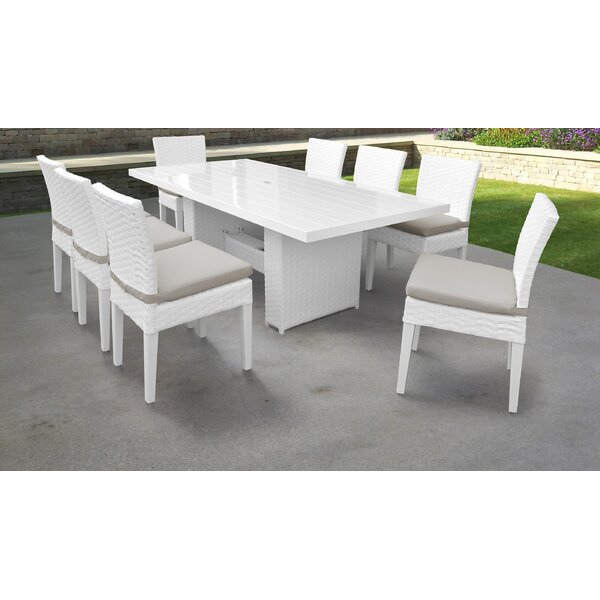 Burgoon 9 Piece Patio Dining Set with Cushions by Orren Ellis
