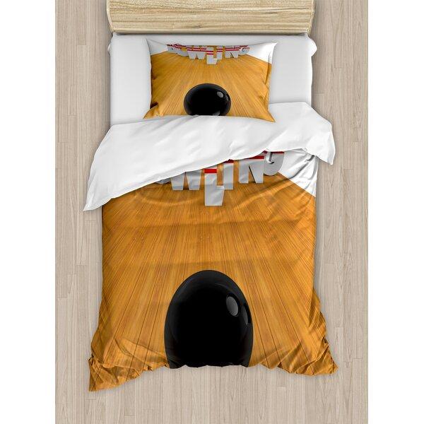 Bowling Alley with Skittles and Ball in Position Duvet Set by East Urban Home