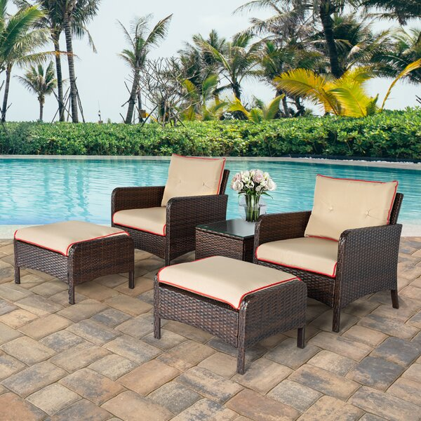 Hillock 5 Piece Rattan Sofa Seating Group With Cushions By Ebern Designs by Ebern Designs Looking for