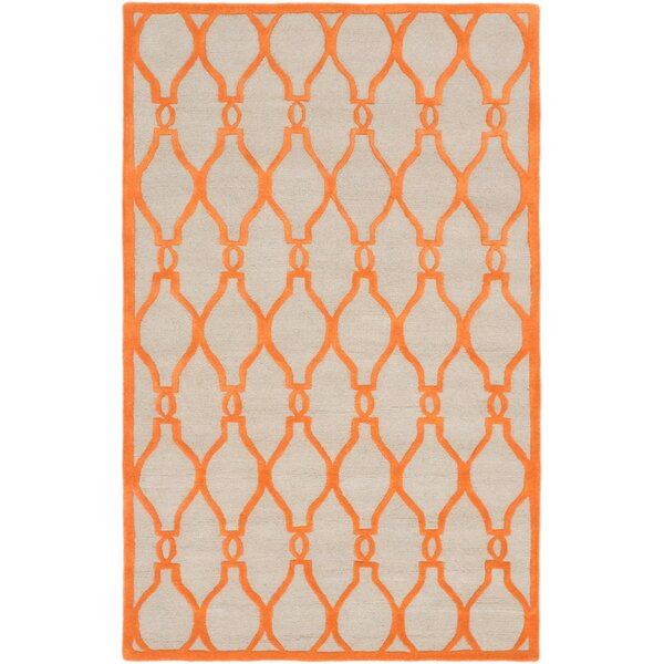 Griffing Transitional Hand Tufted Orange Area Rug by Ivy Bronx