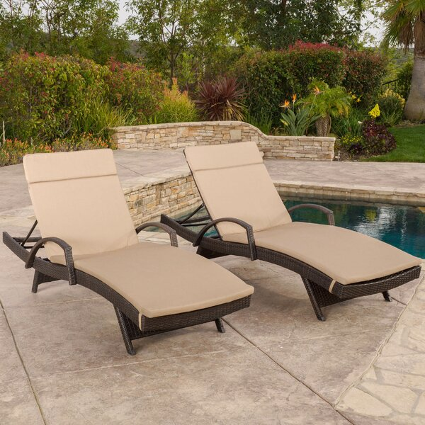 Rebello Reclining Chaise Lounge With Cushion (Set Of 2) By Sol 72 Outdoor