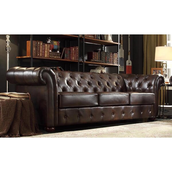 Vegard Chesterfield Faux Leather Sofa by Willa Arlo Interiors