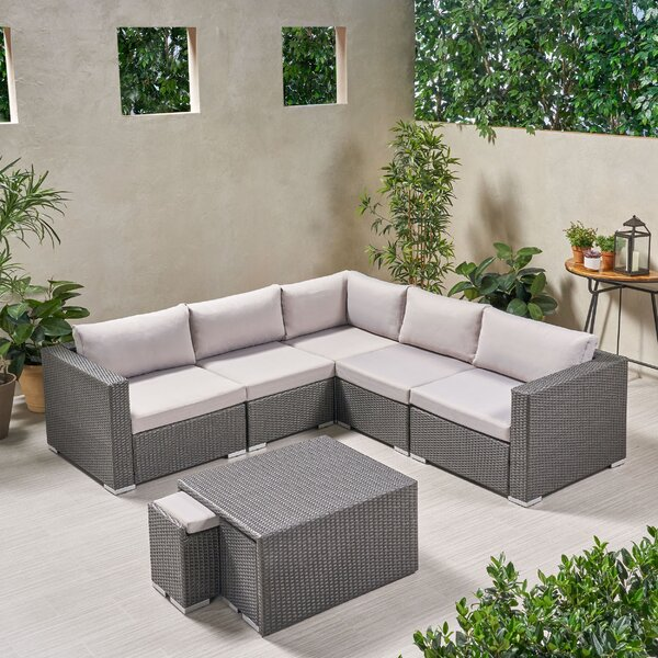 Lacayo Outdoor 8 Piece Rattan Sectional Seating Group with Cushions by Ivy Bronx