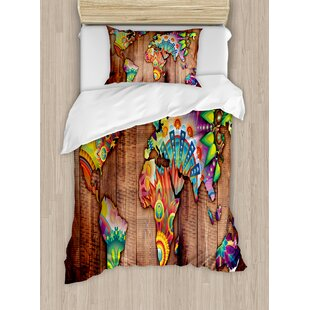 World map bedding wayfair bohemian world map on wooden rustic planks background creative abstract countries print duvet set gumiabroncs Gallery