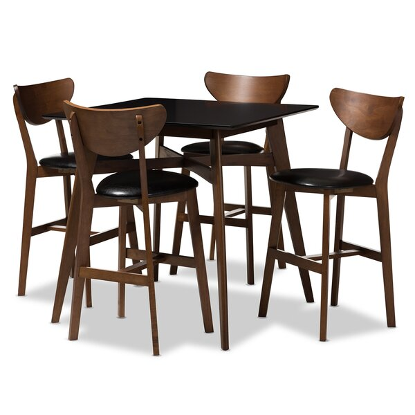 Dalke Mid-Century 5 Piece Pub Table Set By Corrigan Studio