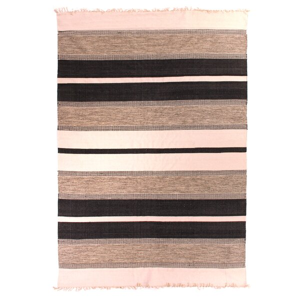 Soft Flat Weave Hand-Woven Cotton Black Area Rug by Exquisite Rugs