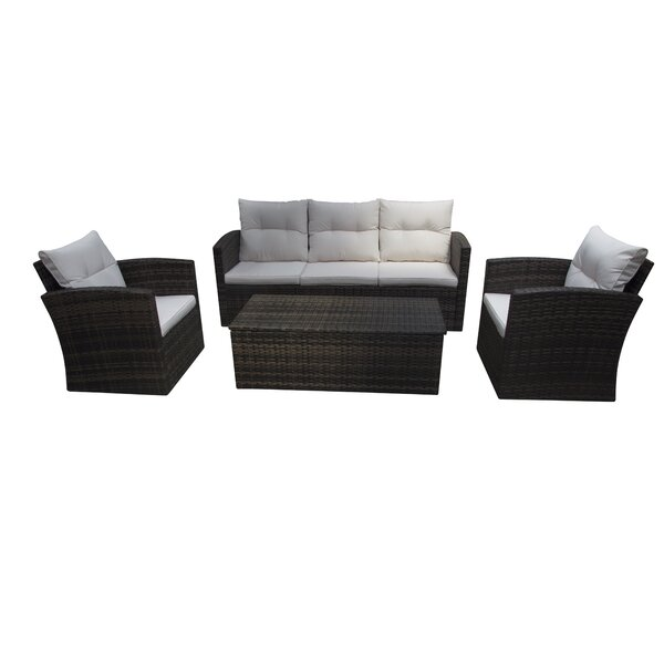 Aronson 4 Piece Rattan Sofa Seating Group with Cushions by Breakwater Bay Breakwater Bay