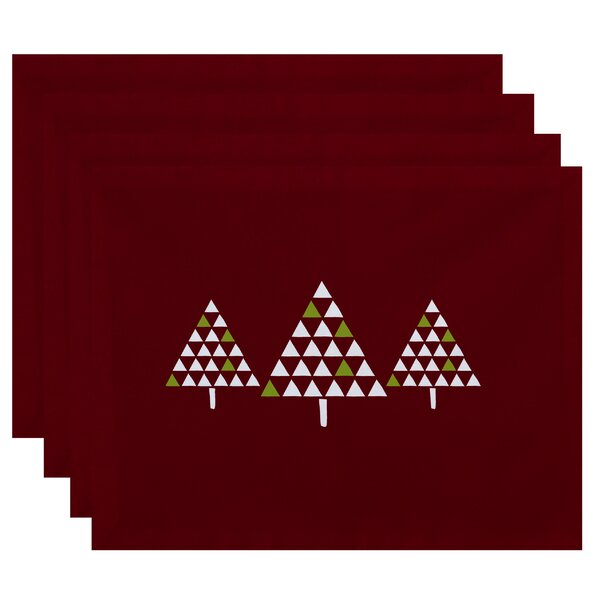 Christmass Trio of Trees Geometric Print Placemat (Set of 4) by The Holiday Aisle