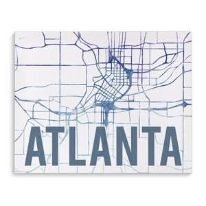 Atlanta Purple Sunset Front Graphic Art on Wrapped Canvas by KAVKA DESIGNS