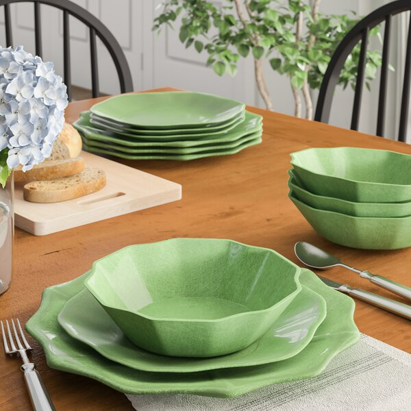 "Pearce Linen Melamine 12 Piece Dinnerware Set, Service for 4 by Birch Laneâ""¢ Heritage"