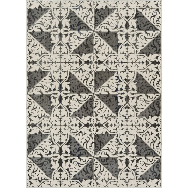 Rotella Floral Tile Gray Area Rug by Winston Porter