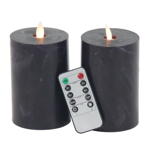 Modern Cylindrical Flicker Flameless Candle Set (Set of 2) by 17 Stories