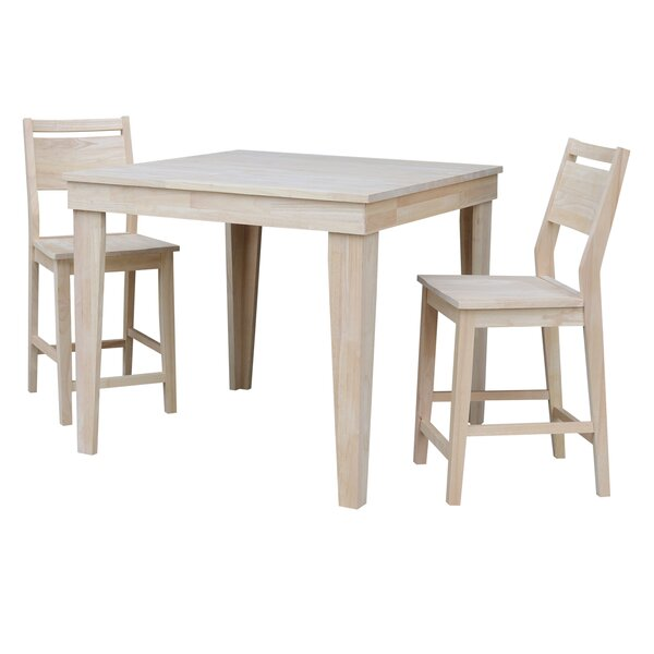 Theodosia 3 Piece Pub Table Set by Highland Dunes