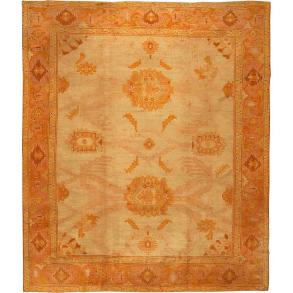 One-of-a-Kind Turkish Hand-Knotted 1900s Brown 12'3 x 14'5 Wool Area Rug