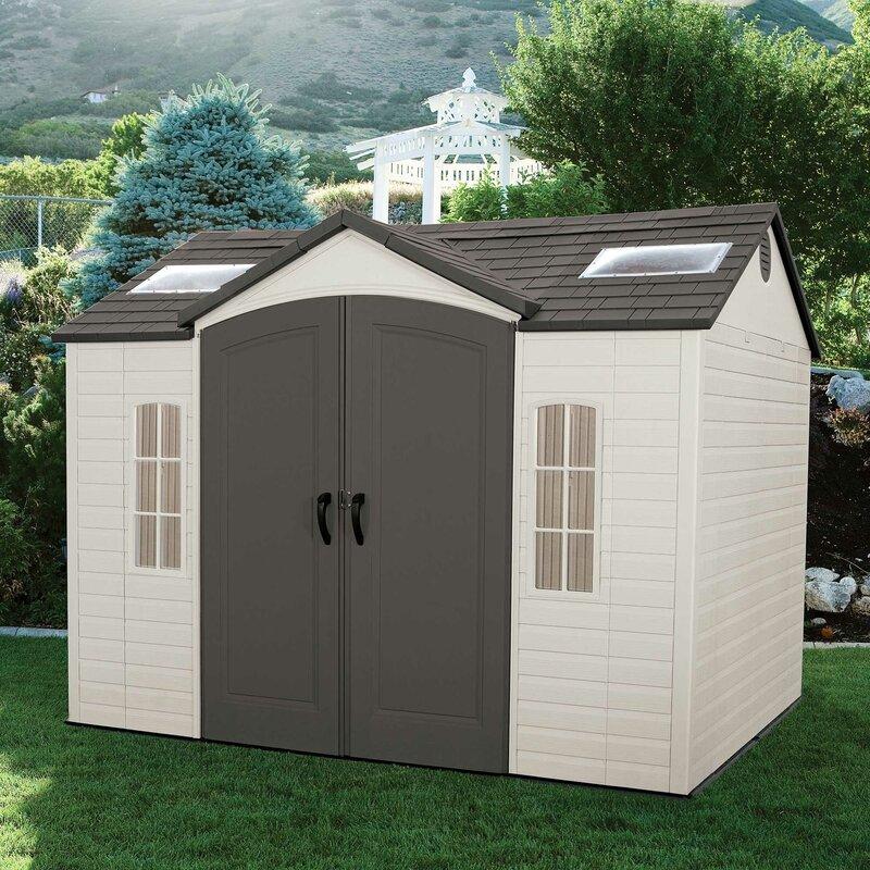 side entry 9 ft 8 in w x 7 ft 8 in yardmaster x woodgrain shiplap metal garden shed - Garden Sheds 5 X 9