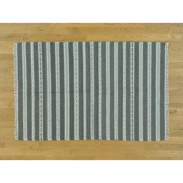 One-of-a-Kind Bischof Reversible Striped Handmade Kilim Grey Wool Area Rug by Isabelline