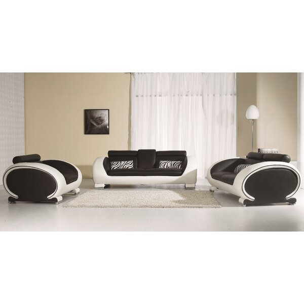 Pattie 3 Piece Leather Living Room Set by Orren Ellis
