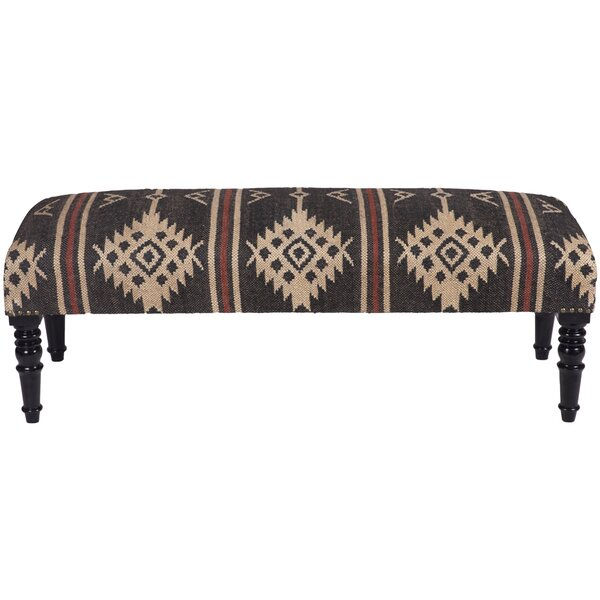 Teignmouth Handmade Indo Kilim Wooden Bench by Loon Peak
