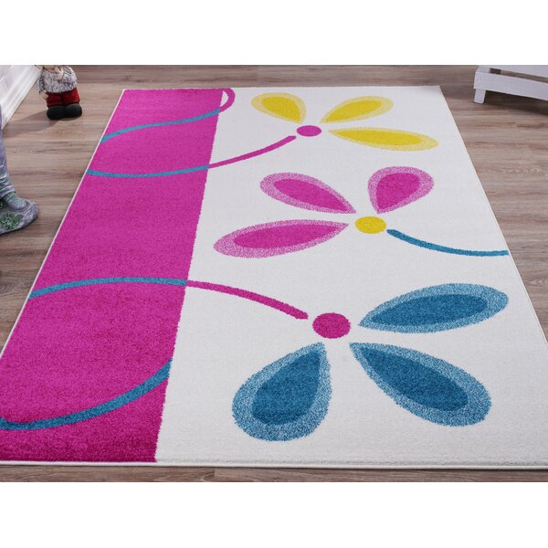 Ostler Block Flowers White Area Rug by Winston Porter