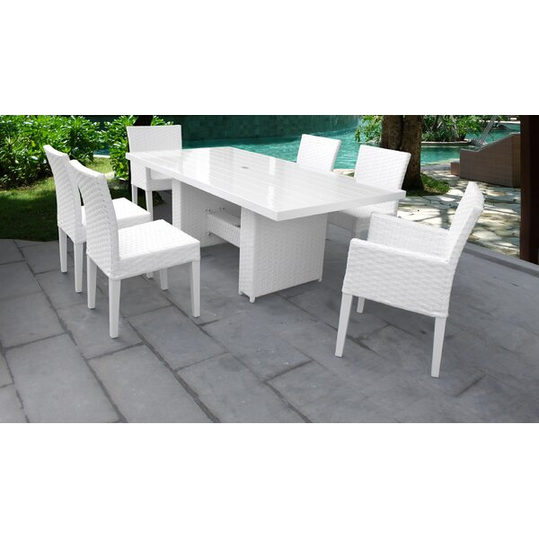 Monaco 7 Piece Outdoor Patio Dining Set with Cushions by TK Classics
