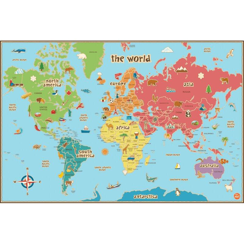Viv rae lucas world map wall decal reviews wayfair lucas world map wall decal gumiabroncs Images