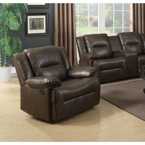 Mendell Contemporary Style Leather Glider Recliner [Red Barrel Studio]