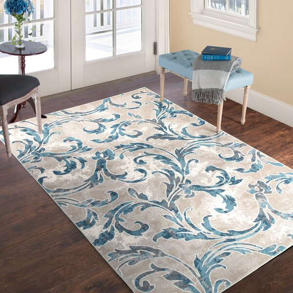 Vintage Leaves Beige/Blue Area Rug by Plymouth Home