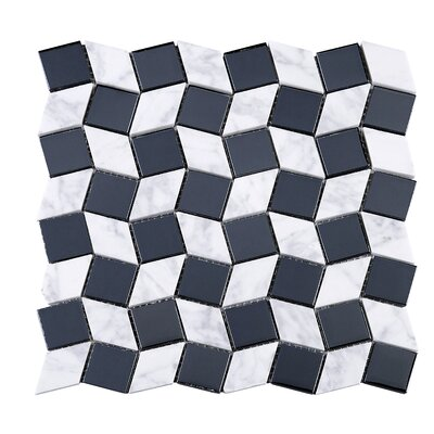 "Geometry Diamond 1.3"" x 1.3"" Marble Mosaic Tile Supreme Tile"