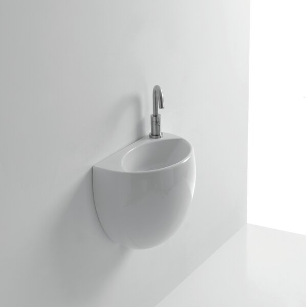 Kilo Ceramic 16 Wall Mount Bathroom Sink with Overflow by WS Bath Collections
