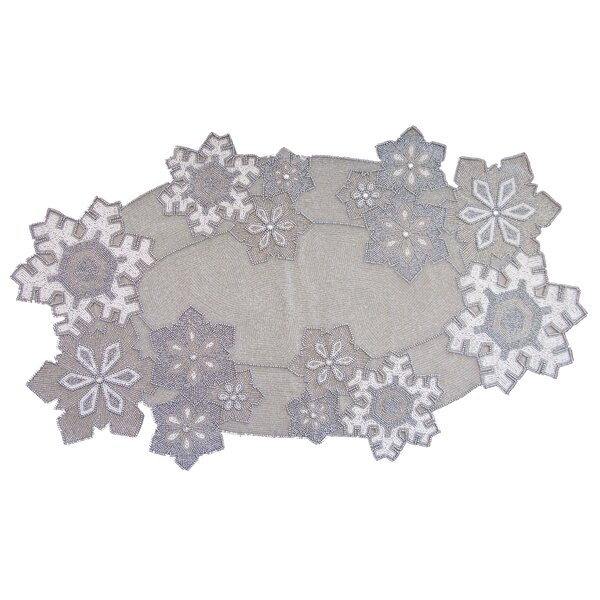 Beaded Snowflake Art Runner by Golden Hill Studio